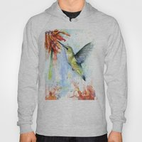 Hummingbird and Red Flower Watercolor Hoody