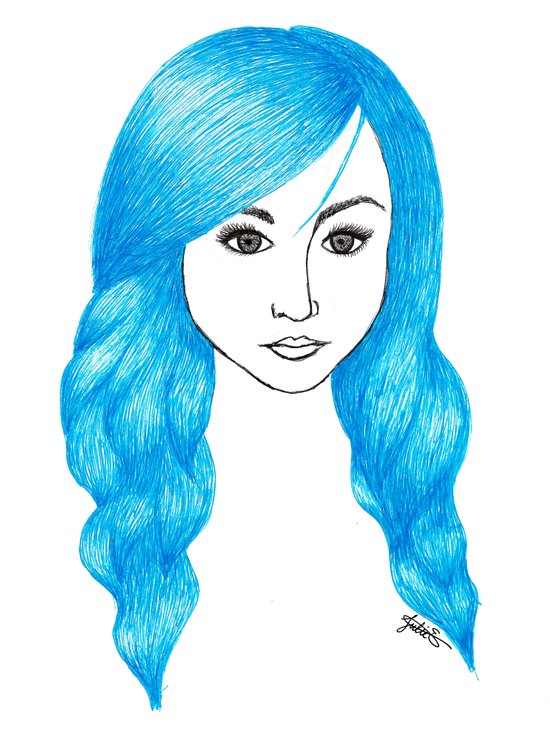 blue hair fashion illustration art drawing woman print