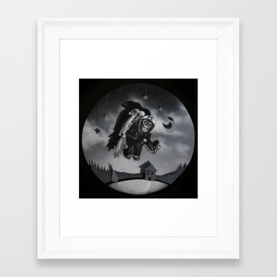 Monkey See Monkey Flew Framed Art Print