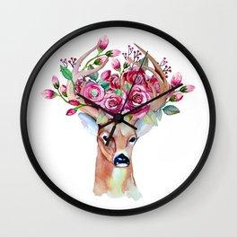 Wall Clock - Shy watercolor floral deer - Peggie Prints