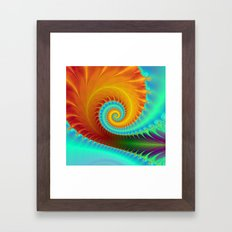 Toothed Spiral in Turquoise and Gold Framed Art Print