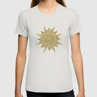 Mosaic Sun Womens Fitted Tee Silver SMALL