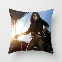 Alice Cooper Fence Stance Throw Pillow