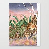Thirsty Tigers Canvas Print