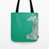 Giraffe in Green Tote Bag