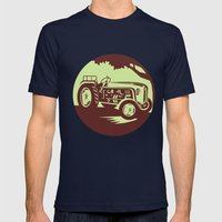 Vintage Farm Tractor Circle Woodcut Mens Fitted Tee Navy SMALL