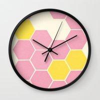 Pink Honeycomb Wall Clock