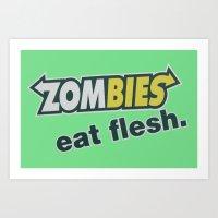 Zombie Eat Flesh Art Print