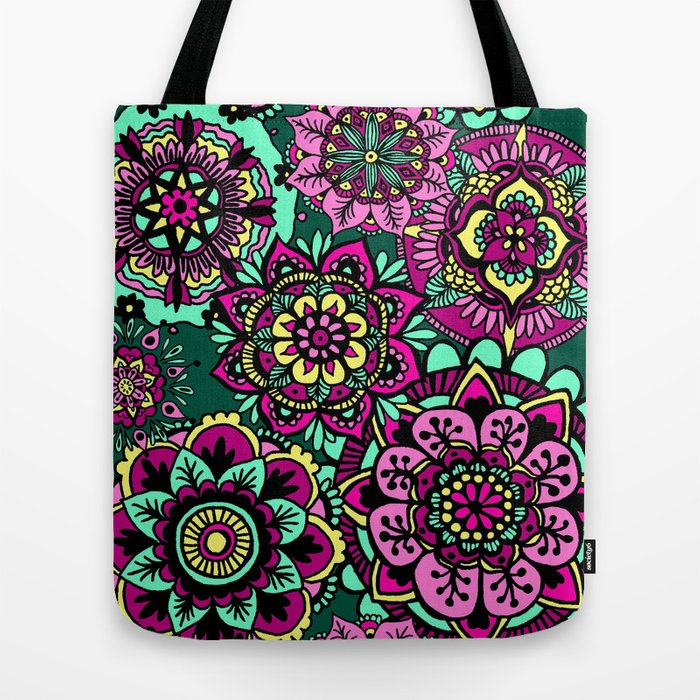 colourful bright mandala pattern tote bag boho
