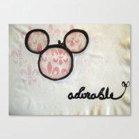 Adorable Mouse Fleur de lis Painting Canvas Print