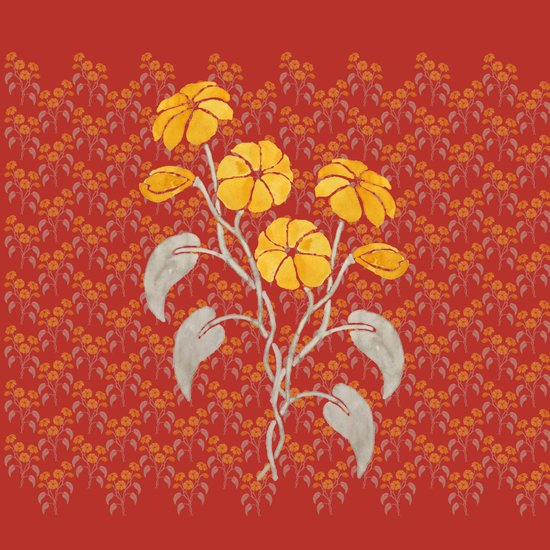 Flowers Red Pattern Art Print