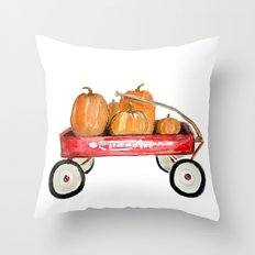 Red wagon watercolor  Throw Pillow