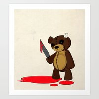 Psycho Teddy Art Print