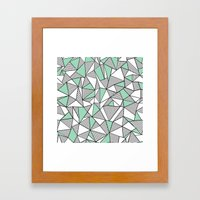 Abstraction Lines with Mint Blocks Framed Art Print