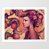 roses Art Prints featuring Leah by Megan Lara