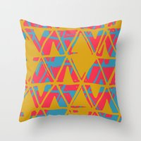 Orange and Blue Printed Triangles Throw Pillow