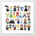 Kokeshis Fairy tales (new version) Canvas Print