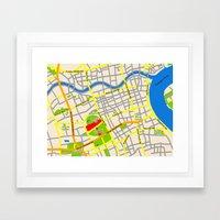 Shanghai Map Design Framed Art Print