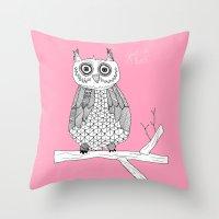 Pink Owl Gives A Hoot Throw Pillow