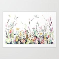 Santa Fe Cactus Love Art Print