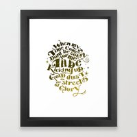 Kicking up gold dust on the streets of glory Framed Art Print