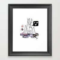 Collage Deer Framed Art Print