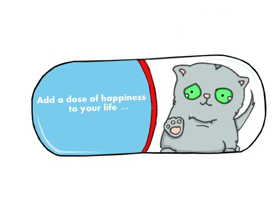 Add a dose of happiness cat in pill illustration Canvas Print