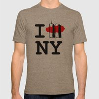 I love New York Mens Fitted Tee Tri-Coffee SMALL