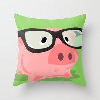 Smart Pig Throw Pillow