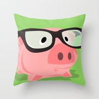 Smart Pig Throw Pillow