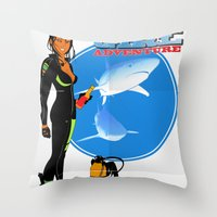 Scuba Girl - Adventure Poster Edition Throw Pillow