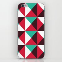 Red, turquoise, black triangle pattern iPhone & iPod Skin
