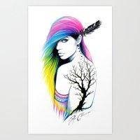 -Stadt Indianer- Art Print