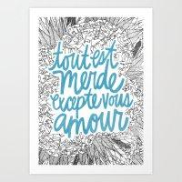 Excepte Vous Amour Art Print