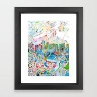 Boston City Skyline Map Framed Art Print