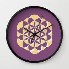 Golden life - Amethyst Wall Clock