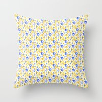 Yellow And Blue Flowers Throw Pillow