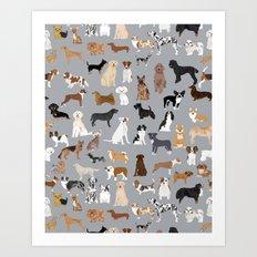 Mixed Dog lots of dogs dog lovers rescue dog art print pattern grey poodle shepherd akita corgi  Art Print
