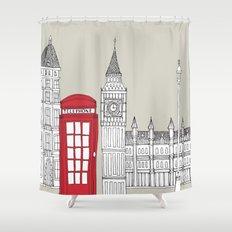 London Red Telephone Box Shower Curtain