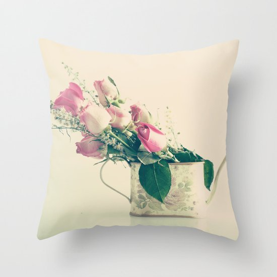 Shabby Chic Roses - Retro Vintage Pink Floral Photography on beige background Throw Pillow