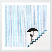 But Then He Got his Feet Wet... And Freaked Out... Art Print