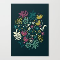 Midnight Florals (pop) Canvas Print