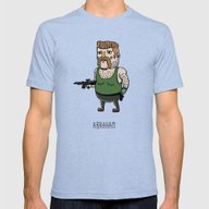 The Walking Dead, Abraha… Mens Fitted Tee Tri-Blue SMALL
