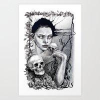 Skull Girl Nouveau Art Print