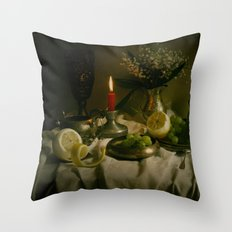 Still life with metal pots and fruits Throw Pillow