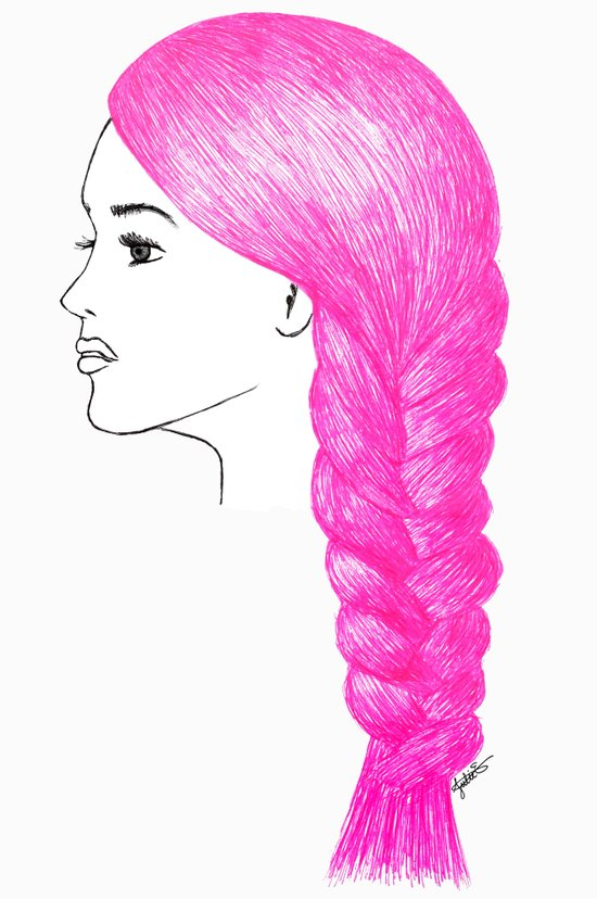 Pink braid hair girl drawing art fashion illustration