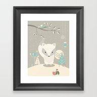 Christmas Baby Fox 07 Framed Art Print