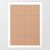 Peach and Gray Tribal Pattern Art Print