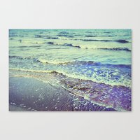 Retro Beach. Summer Wave… Canvas Print