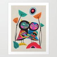 Owls hugging Art Print
